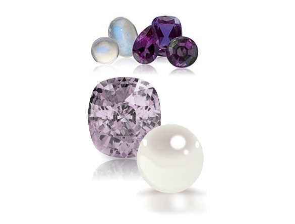 Pearl, Alexandrite, and Moonstone -the June birthstones.