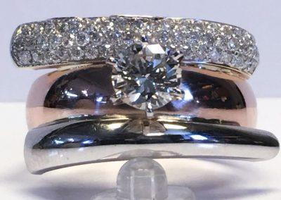 Custom ring made of a diamond earring.