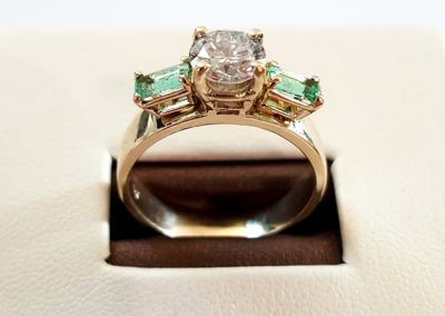 Custom-made ring that once was emerald earring.